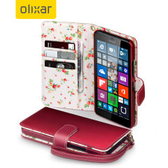Olixar Leather-Style Microsoft Lumia 640 XL Wallet Case - Floral Red