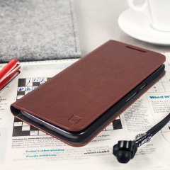 Olixar Leather-Style Moto G4 Wallet Stand Case - Brown