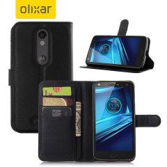 Olixar Leather-Style Motorola Droid Turbo 2 Wallet Stand Case - Black