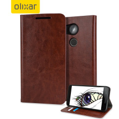 Olixar Leather-Style Nexus 5X Wallet Stand Case - Brown
