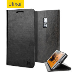 Olixar Leather-Style OnePlus 2 Wallet Stand Case - Black