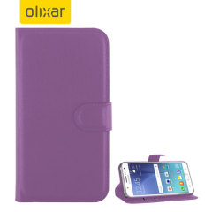 Olixar Leather-Style Samsung Galaxy J5 2015 Wallet Stand Case - Purple