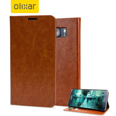 Olixar Leather-Style Samsung Galaxy Note 5 Wallet Case - Brown