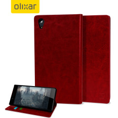 Olixar Leather-Style Sony Xperia Z5 Wallet Stand Case - Red