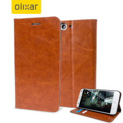 Olixar Leather-Style ZTE Blade S6 Wallet Stand Case - Light Brown