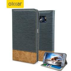 Olixar Premium Fabric Samsung Galaxy S6 Wallet Case - Light Blue