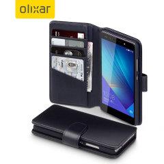 Olixar Premium Genuine Leather Huawei Honor 7 Wallet Case - Black