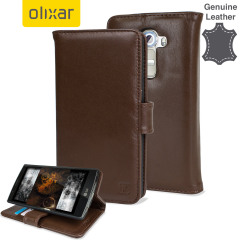 Olixar Premium Genuine Leather LG G4 Wallet Case - Brown