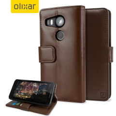 Olixar Premium Genuine Leather Nexus 5X Wallet Case - Brown