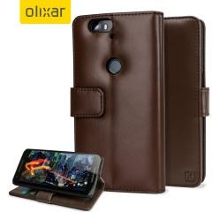 Olixar Premium Genuine Leather Nexus 6P Wallet Case - Brown
