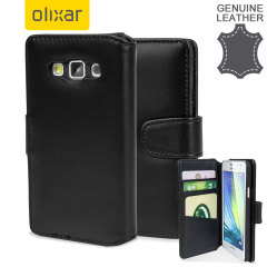 Olixar Premium Genuine Leather Samsung Galaxy A3 Wallet Case - Black