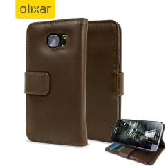 Olixar Premium Genuine Leather Samsung Galaxy S6 Wallet Case - Brown