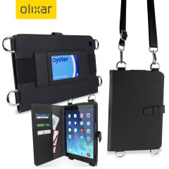 Olixar Premium iPad Air 2 / 1 Wallet Case with Shoulder Strap - Black