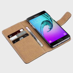 Olixar Samsung Galaxy A5 2016 Leather Style Wallet Case - Black / Tan