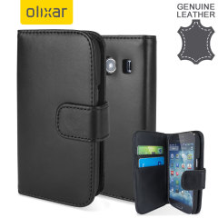 Olixar Samsung Galaxy Ace 4 Genuine Leather Wallet Case - Black