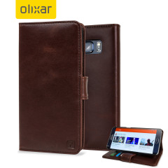 Olixar Samsung Galaxy S6 Edge Plus Genuine Leather Wallet Case - Brown