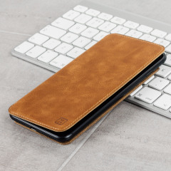 Olixar Slim Genuine Leather Flip iPhone 7 Plus Wallet Case - Tan