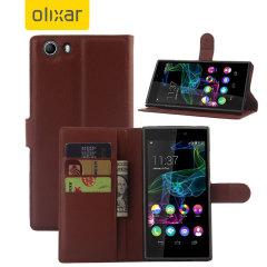 Olixar Wiko Ridge Fab 4G Wallet Case - Brown
