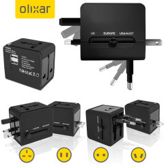 Olixar Worldwide Adapter with 2 USB Ports - Black