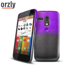 Orzly Raindrop Hard Back Case for Moto G - Purple