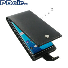 PDair Deluxe Leather BlackBerry Priv Flip Case - Black