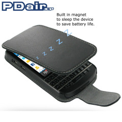 PDair Leather Flip Case for Blackberry Q10 - Black