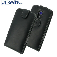 PDair Leather Motorolo Moto G 2nd Gen Top Flip Case - Black