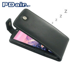 PDair Leather Sleep/Wake Flip Top for Nexus 5 - Black