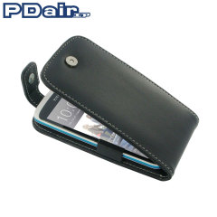 Pdair Leather Top Flip Case for HTC Desire 500 - Black