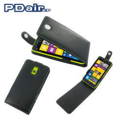 Pdair Leather Top Flip Case for Nokia Lumia 1320 - Black