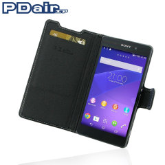 Pdair Sony Xperia Z2 Leather Book Type Case - Black