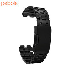 Pebble Steel Metal Replacement Strap - Matte Black