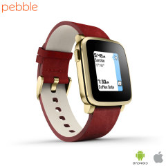 Pebble Time Steel Leather Smartwatch for iOS & Android Devices - Gold