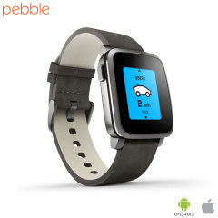 Pebble Time Steel Smartwatch for iOS and Android Devices - Black