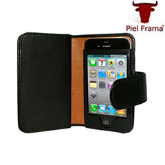 Piel Frama Leather Wallet Case for Apple iPhone 4S / 4 - Black