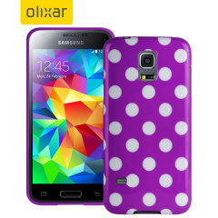 Polka Dot FlexiShield Samsung Galaxy S5 Mini Gel Case - Purple