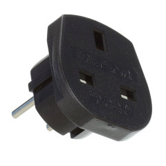 Portable UK to Euro Mains Adapter Travel Plug - Black