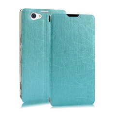 Pudini Flip and Stand Sony Xperia Z2 Satin Style Case - Blue