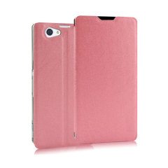 Pudini Flip and Stand Sony Xperia Z2 Satin Style Case - Pink