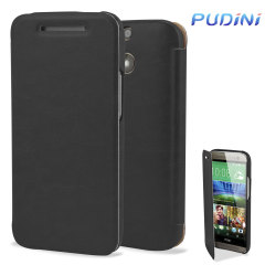 Pudini HTC One M8 Leather-Style Flip Case - Black