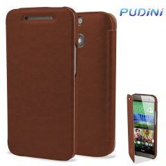 Pudini HTC One M8 Leather-Style Flip Case - Brown