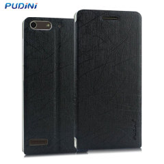 Pudini Huawei Ascend G6 Flip and Stand Case - Black