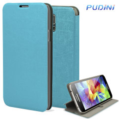 Pudini Samsung Galaxy S5 Flip and Stand Case - Blue