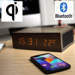 Qi-Tone Alarm Clock Bluetooth Speaker with Qi Charging - Dark Wood