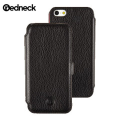 Redneck Red Line Leather iPhone 5S / 5 Book Case - Black