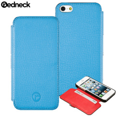 Redneck Red Line Leather iPhone 5S / 5 Book Case - Blue