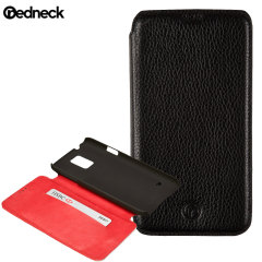 Redneck Red Line Leather Samsung Galaxy S5 Book Case - Black