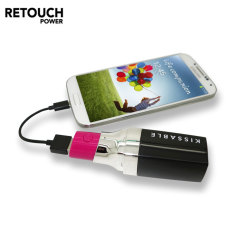 Retouch Kissable Lipstick 2600mAh Portable Power Bank - Pink / Black