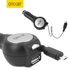Retractable Car Charger With USB Port - Micro USB