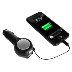 Retractable Lightning iPhone 6 / 5 Series Car Charger with USB Port